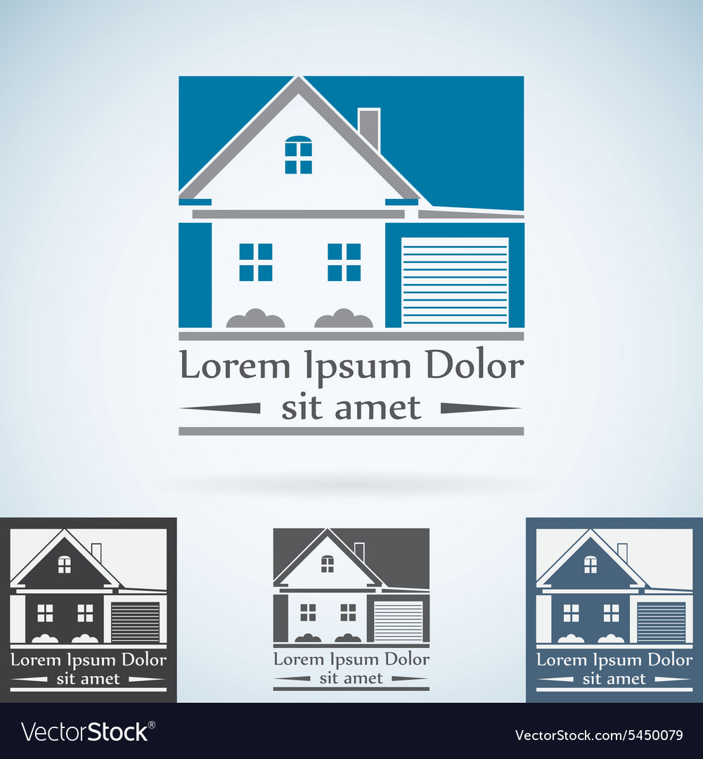 Real Estate logo design template color set House