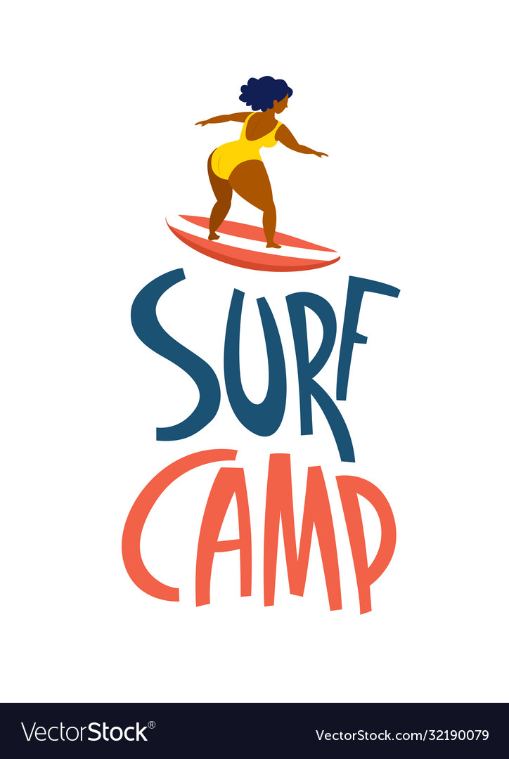Surfing girls in ocean surf camp lettering