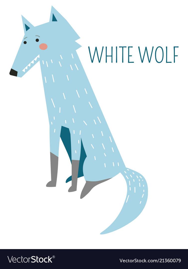 White wolf rare species childish cartoon character vector image