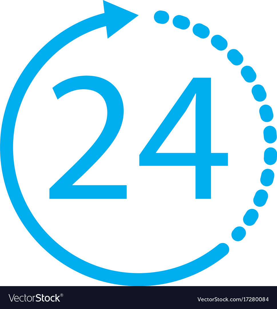 24 hours icon on white background 24 hours sign