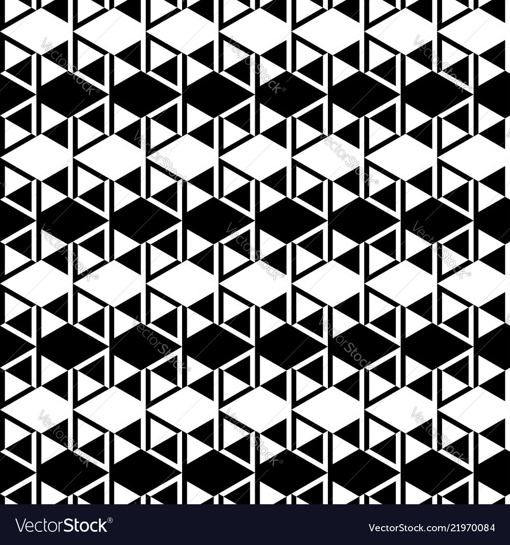 Black and white cubes pattern seamless background