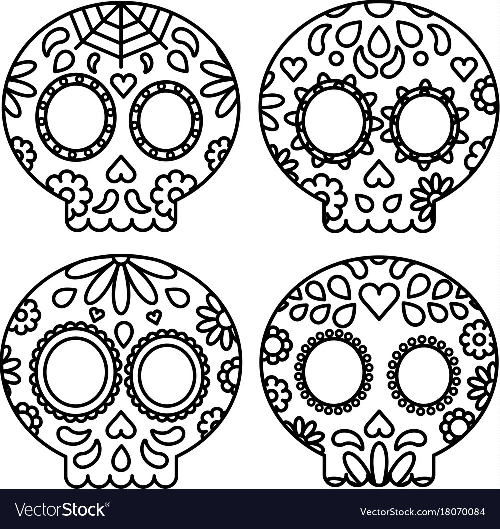 Day of the dead set of skulls black outline for