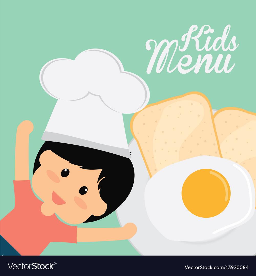 Kids menu chef boy fried egg bread
