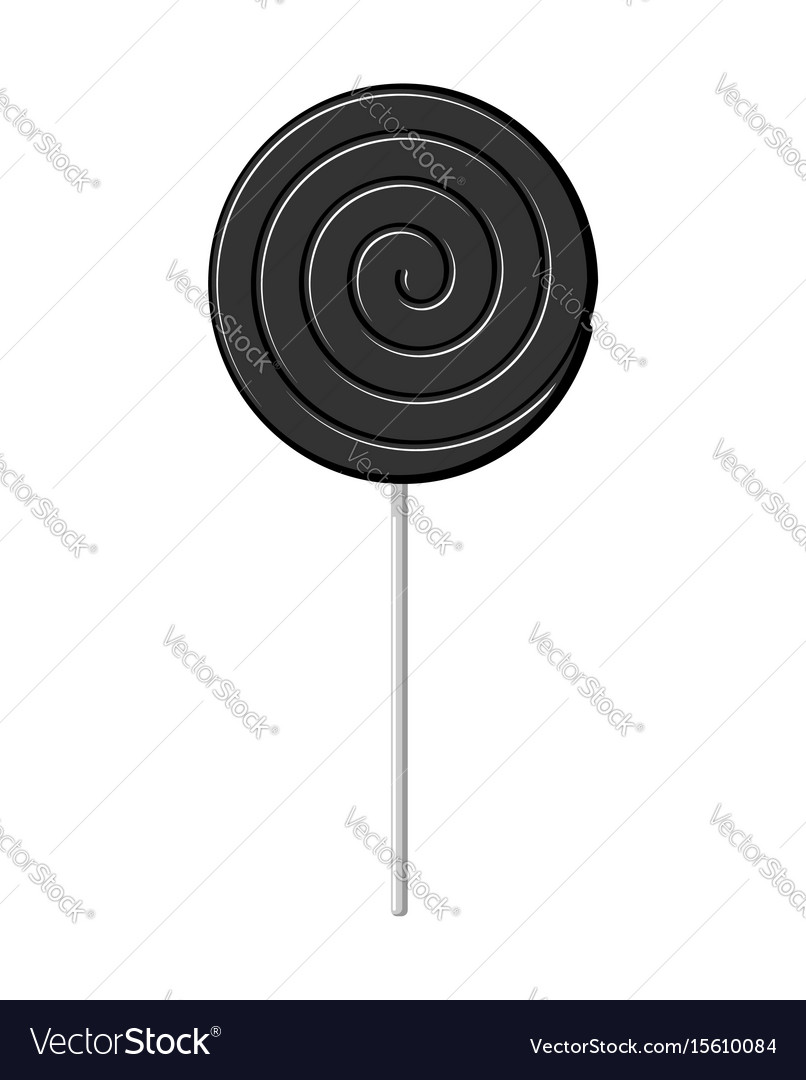 lollipop black on stick isolated candy on white vector image