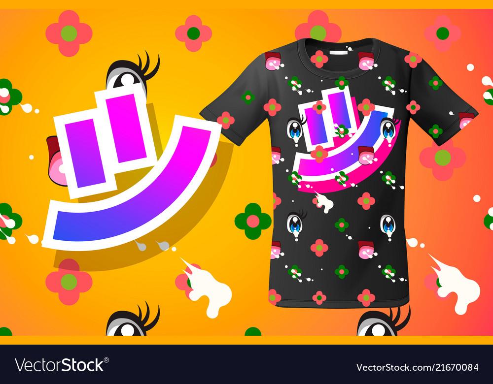 Modern t-shirt print design with smile emoticon
