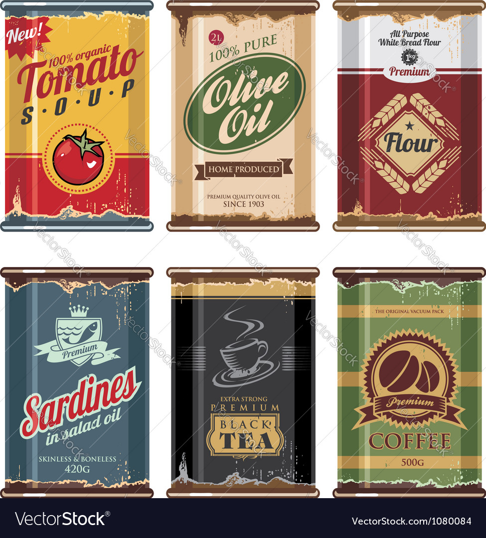 Retro food cans collection vector image