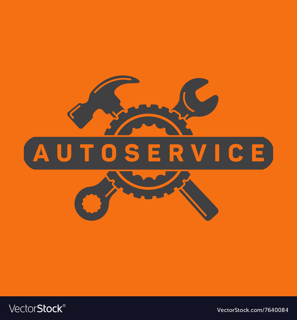 Service auto repair wrench hammer wheel logo