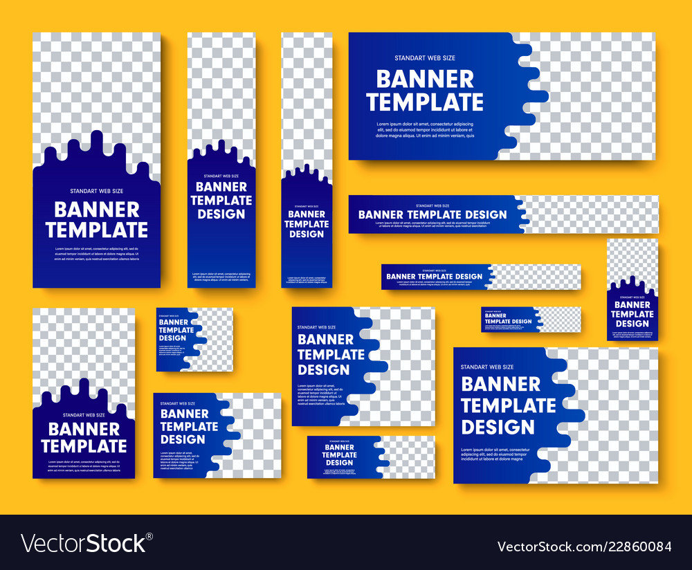Set blue web banners with place for photo