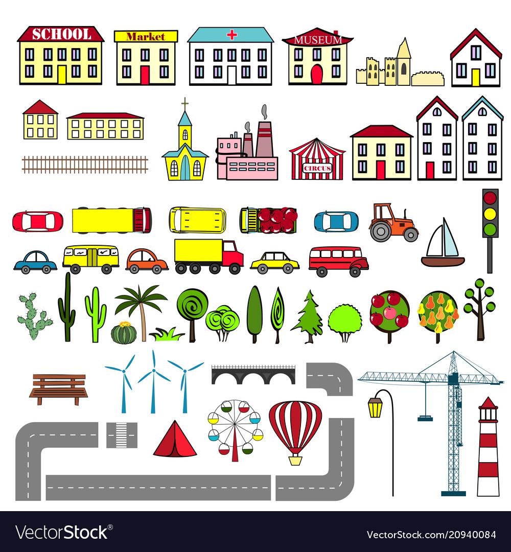 Set of kids city map elements