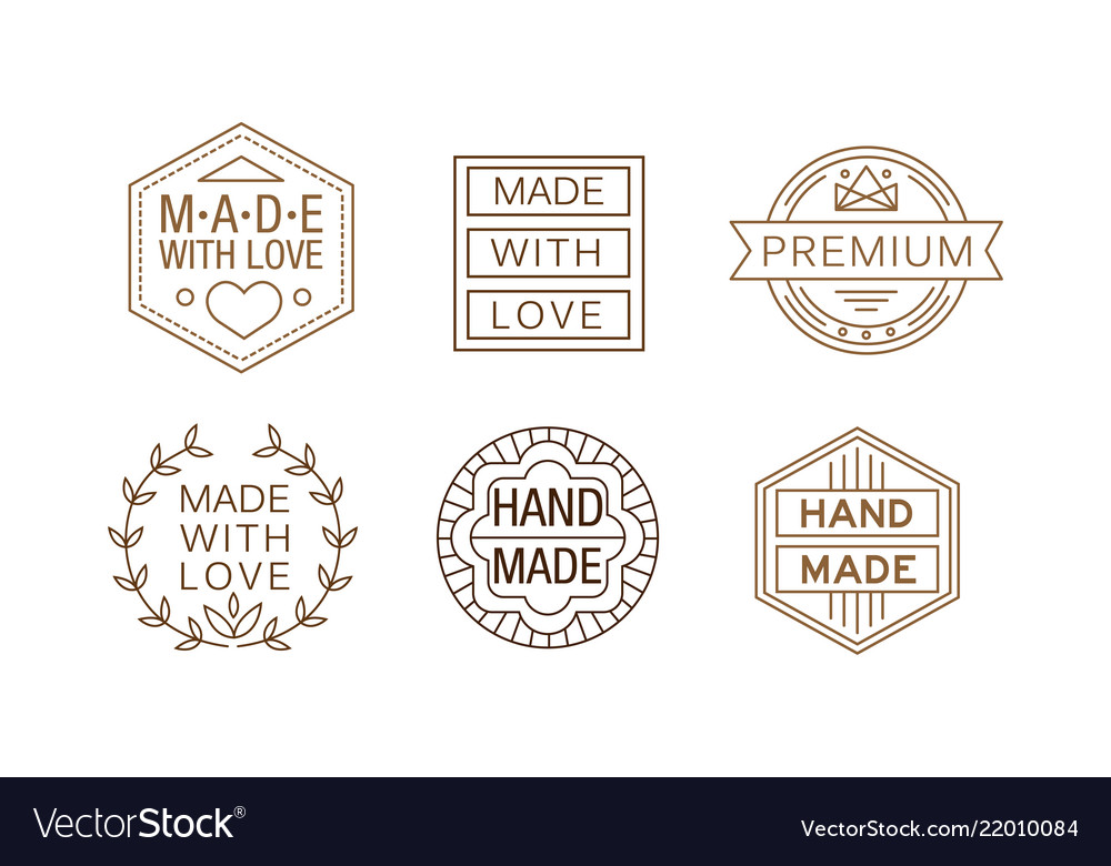 Set of linear labels for handmade crafts