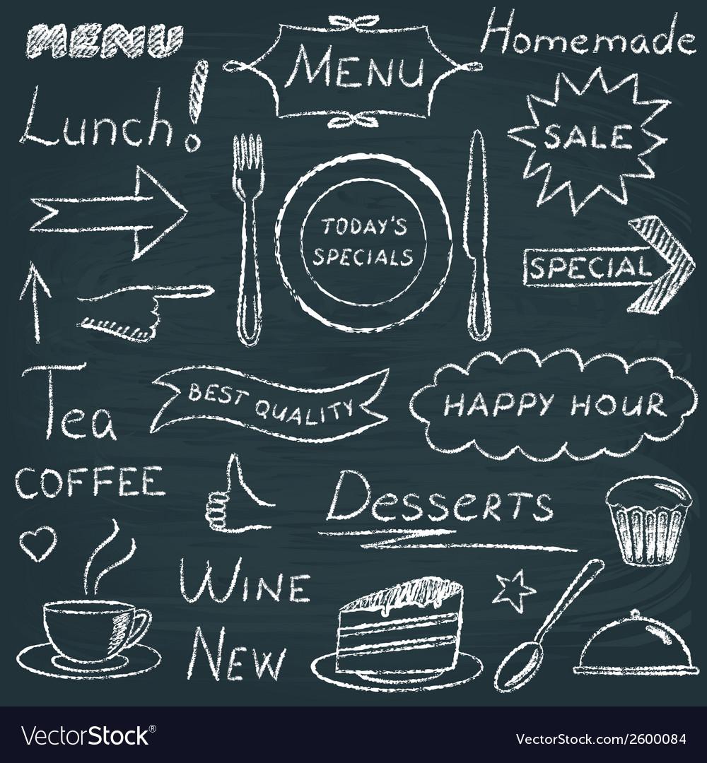 Set restaurant menu design elements
