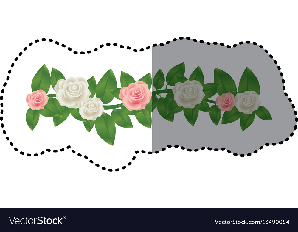 Sticker colorful crown of leaves with roses floral