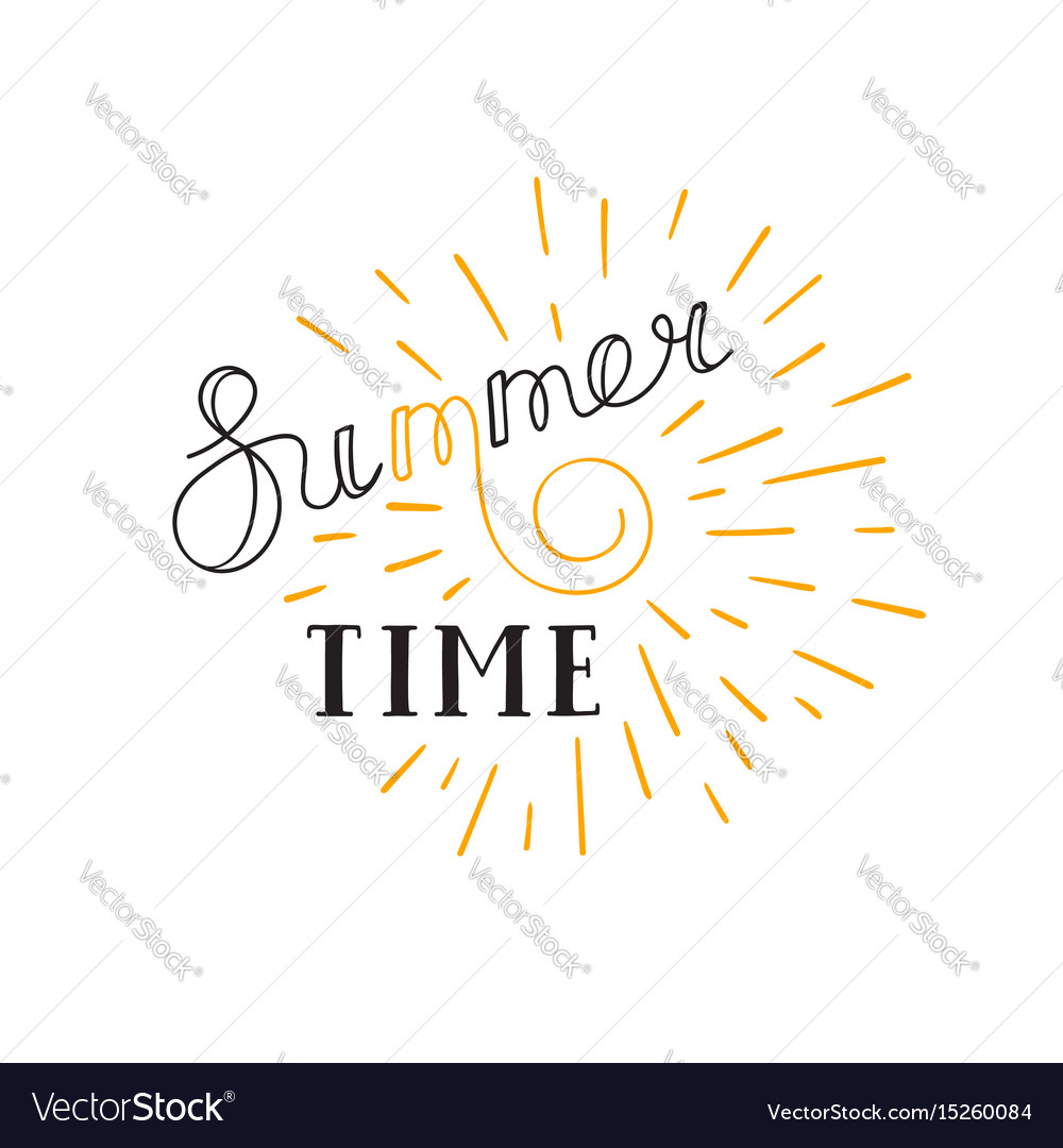 Summer time lettering logo hand drawn typographic