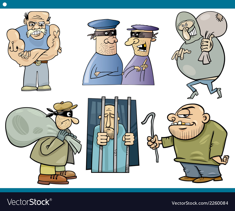 Thieves and thugs cartoon set