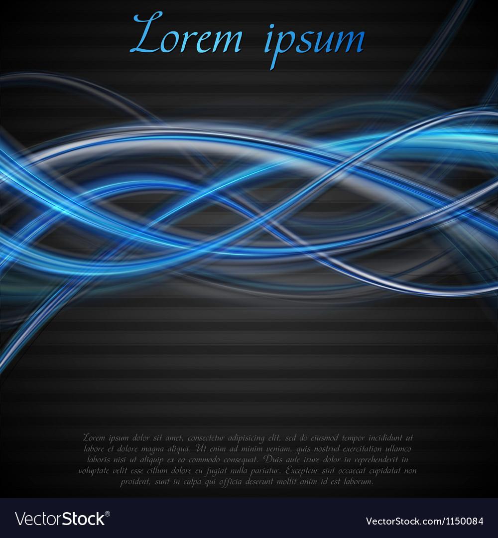 Vibrant blue and black wavy backdrop vector image