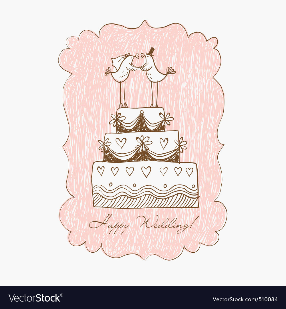 Wedding cake hand draw vector image