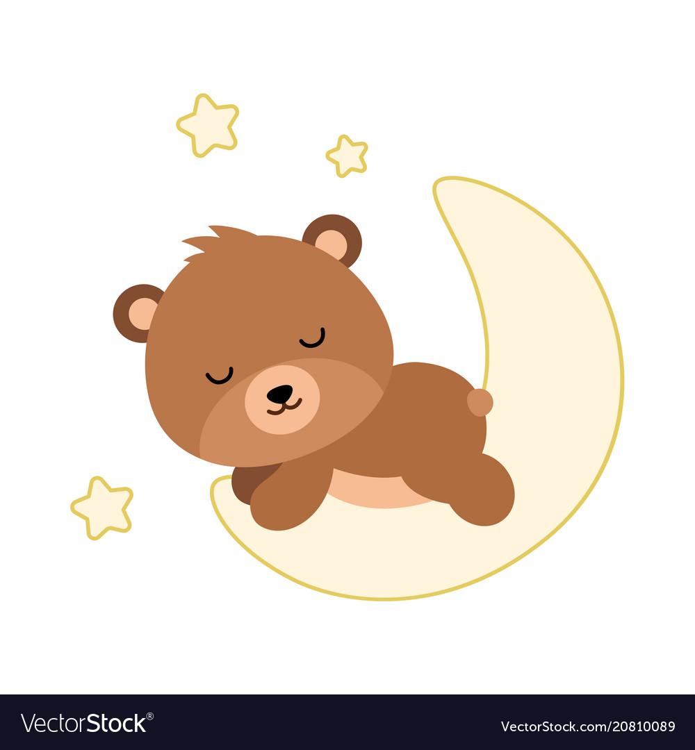 Adorable flat bear sleeping on the moon