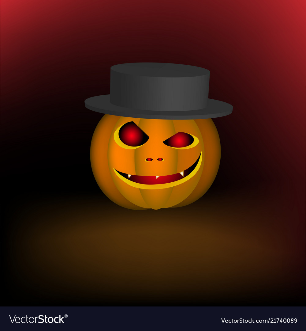 An evil pumpkin in a hat for a halloween holiday