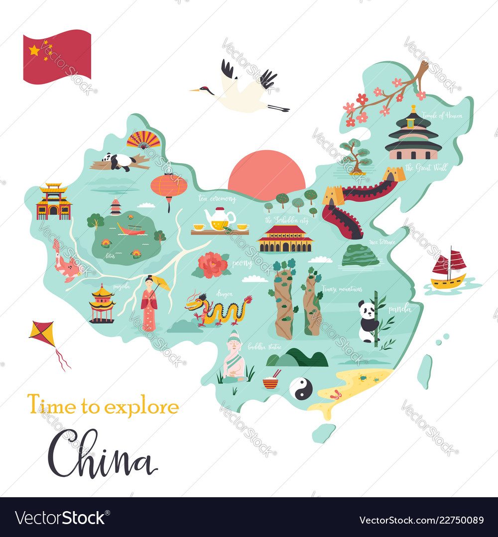 Chinese cartoon map with destinations symbols Vector Image