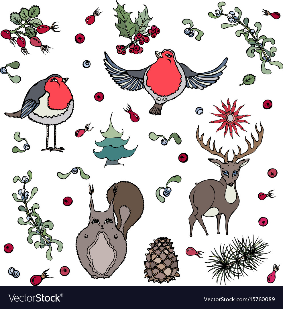 christmas background deer squirrel red robin vector image - Is Red Robin Open On Christmas