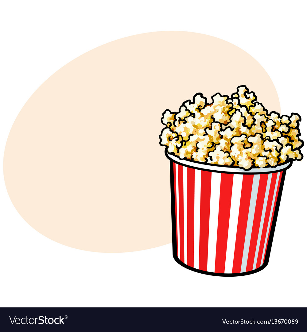 Cinema popcorn in a big red and white striped