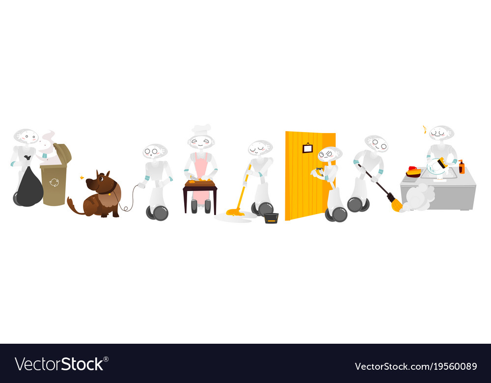 Flat robots assistants set isolated vector image