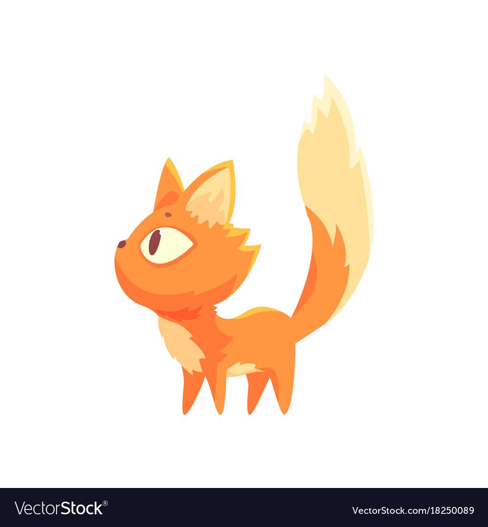 Funny red kitten cute cartoon cat character