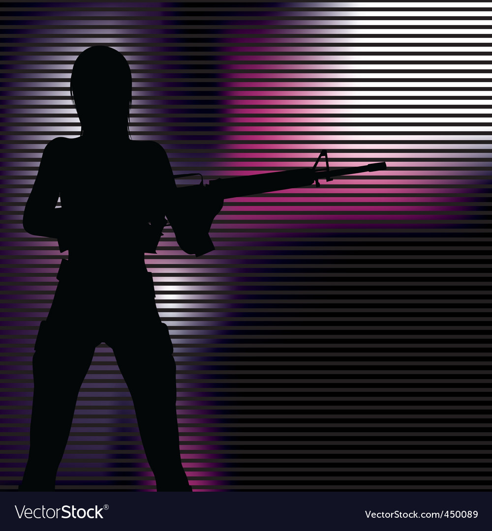 girl with gun silhouette royalty free vector image