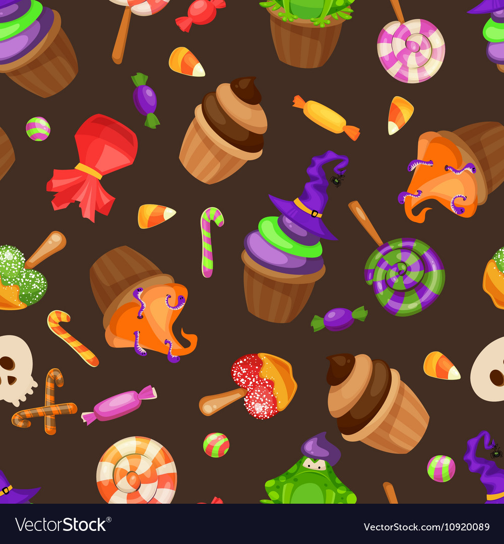 Halloween candy seamless pattern texture