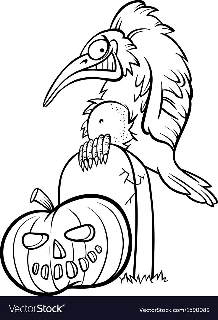 Halloween pumpkin with crow cartoon Royalty Free Vector