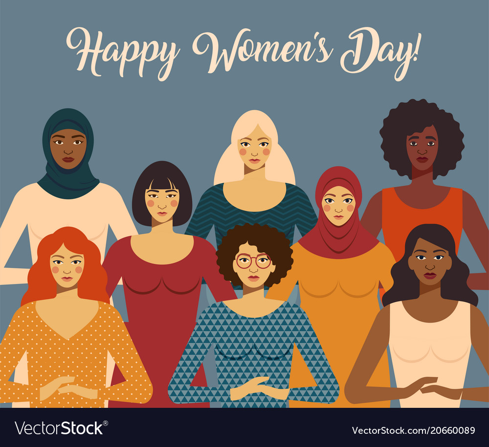 International women s day female diverse faces of