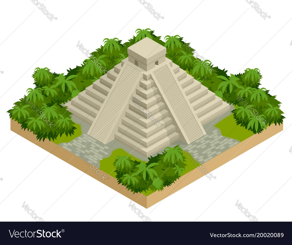 Isometric mayan pyramid isolated on white