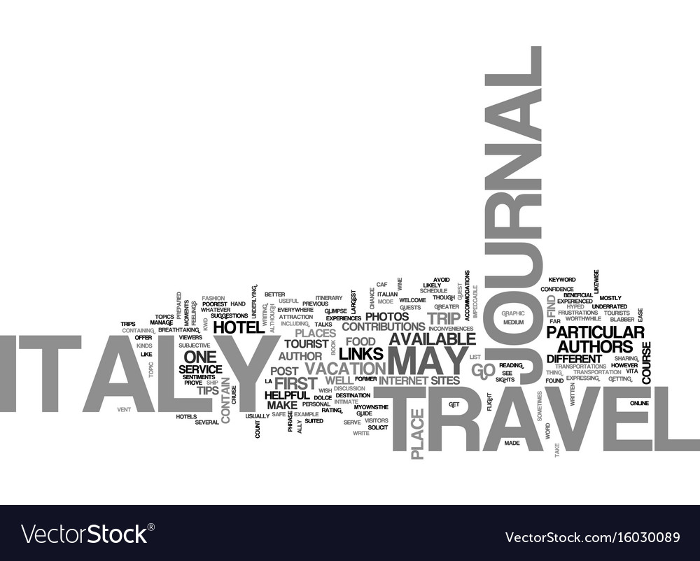 italy travel journal text background word cloud vector image