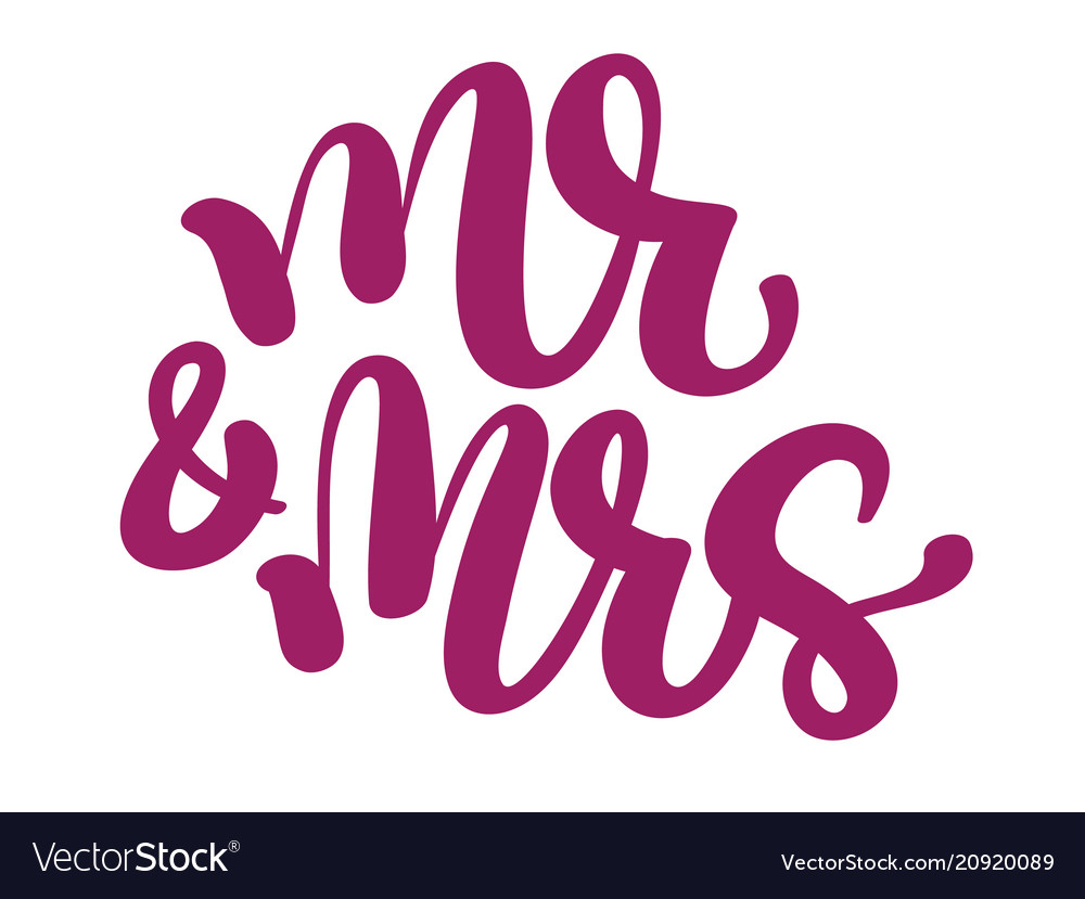 Mr and mrs hand-written with pointed pen and ink