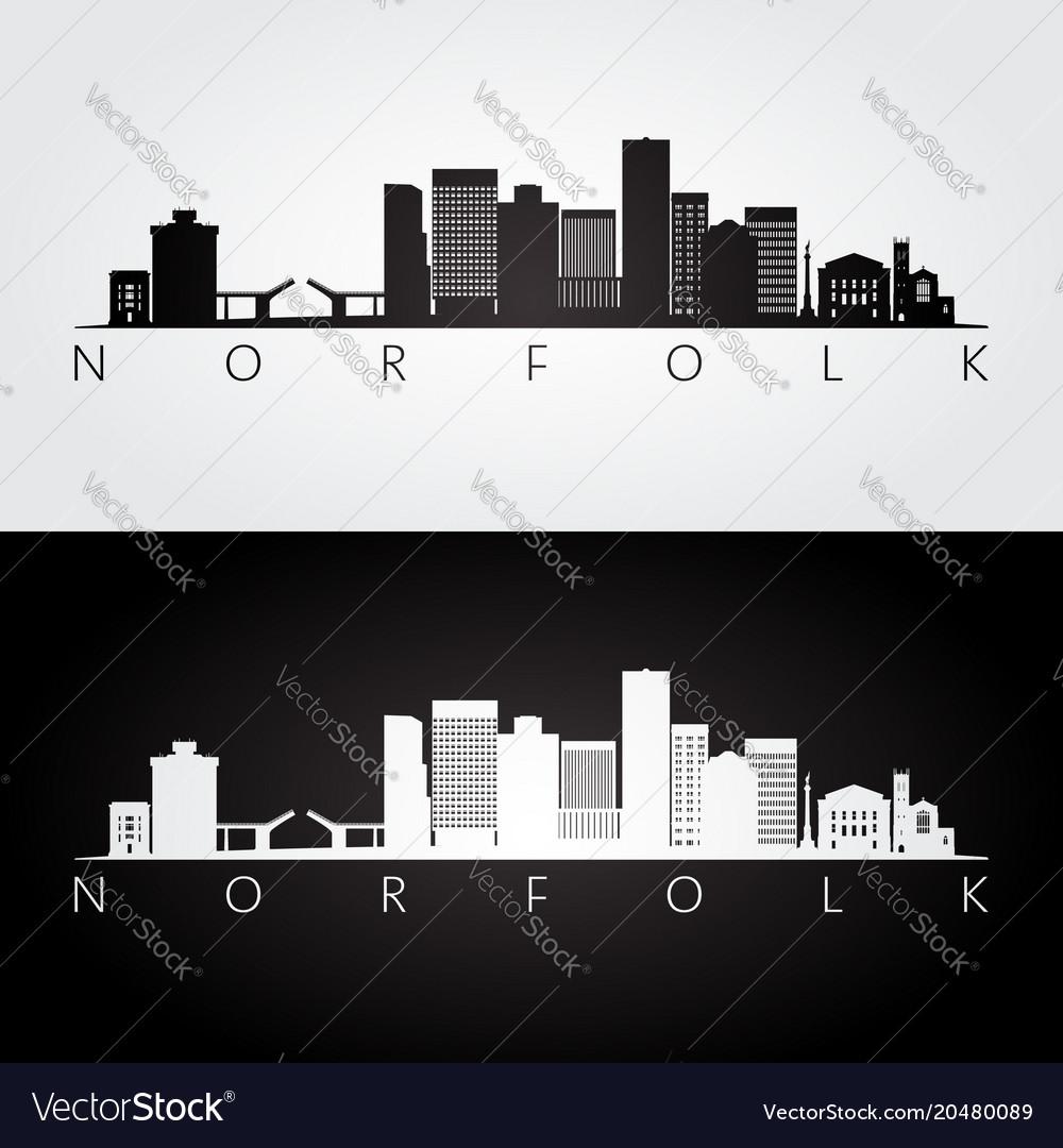 Norfolk usa skyline and landmarks silhouette