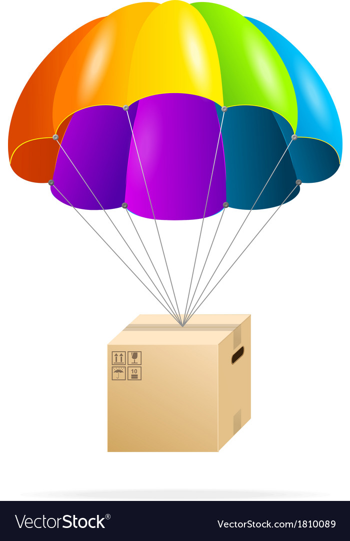 Rainbow parachute with cardboard box on a white