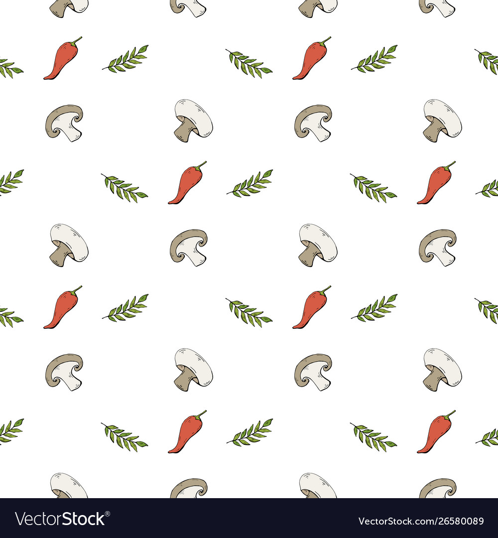 Seamless pattern with mushrooms champignons and