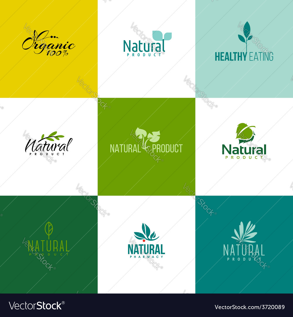 Set of natural and organic products logo templates