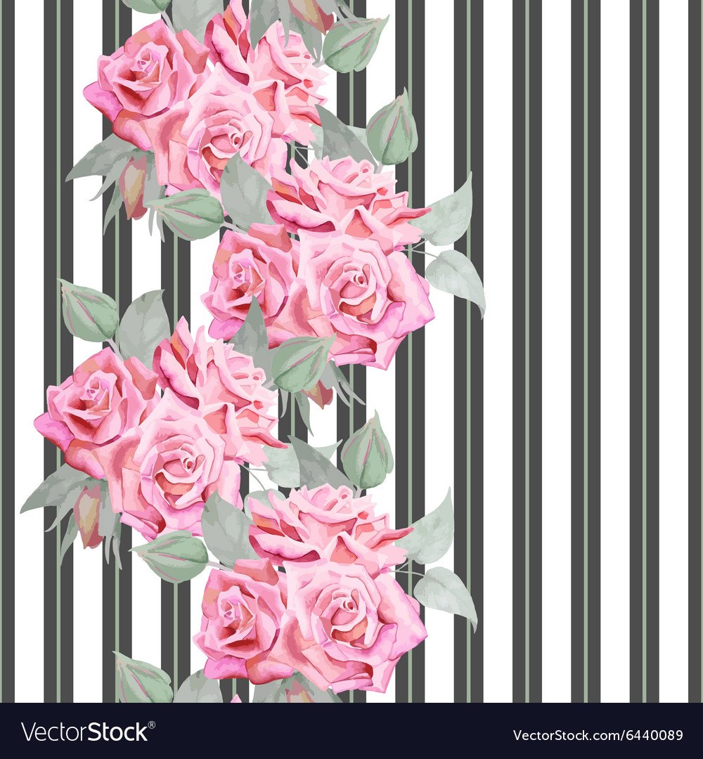 Watercolor red roses seamless pattern with stripes