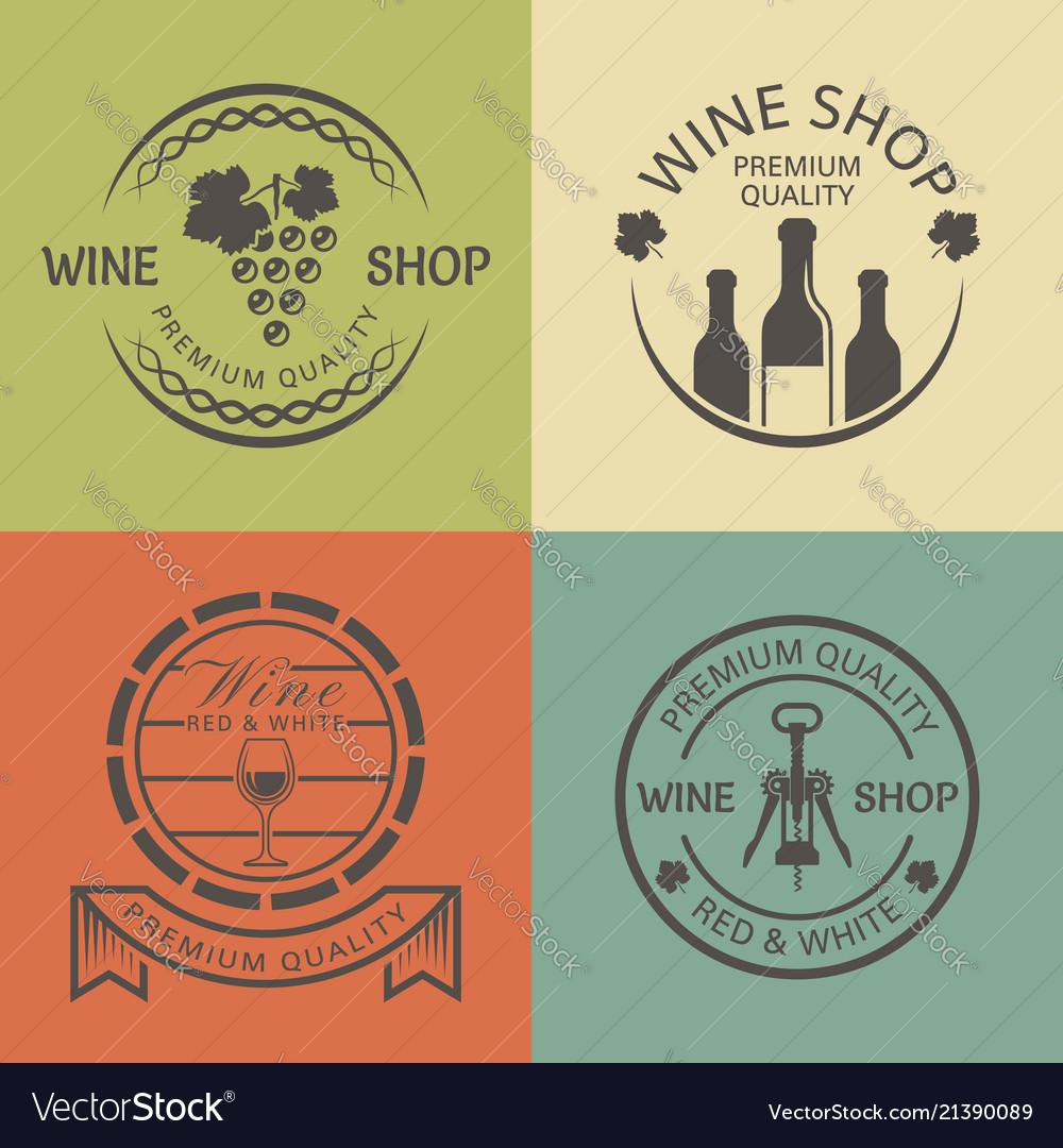 Wine shop vintage round colored emblems