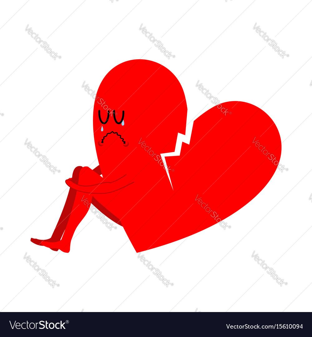 Broken Heart Symbol Unrequited Love Sad Sign Vector Image