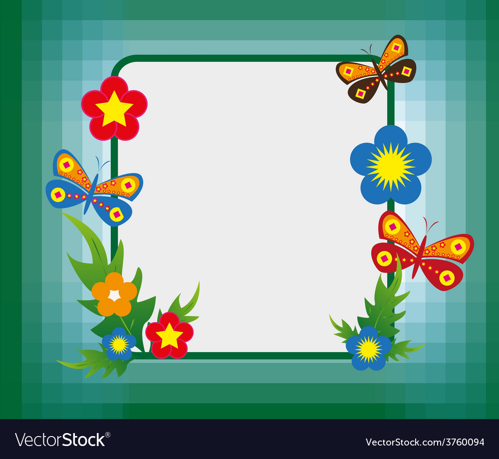 Cartoon flower frame background Royalty Free Vector Image