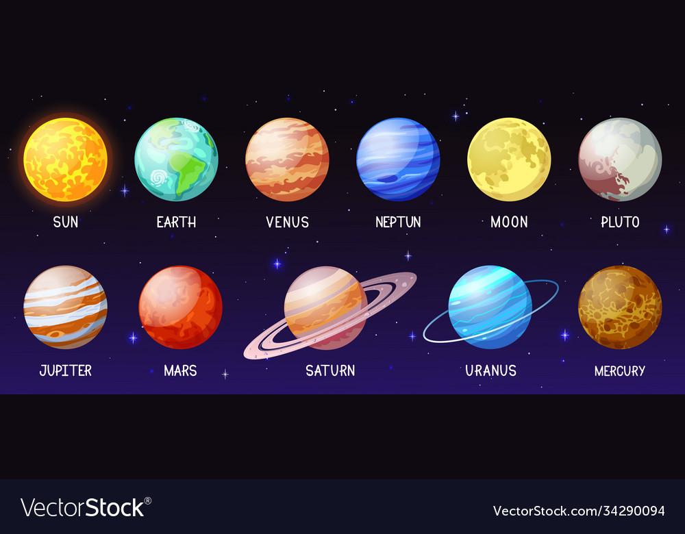 Cartoon solar system space planets moon sun