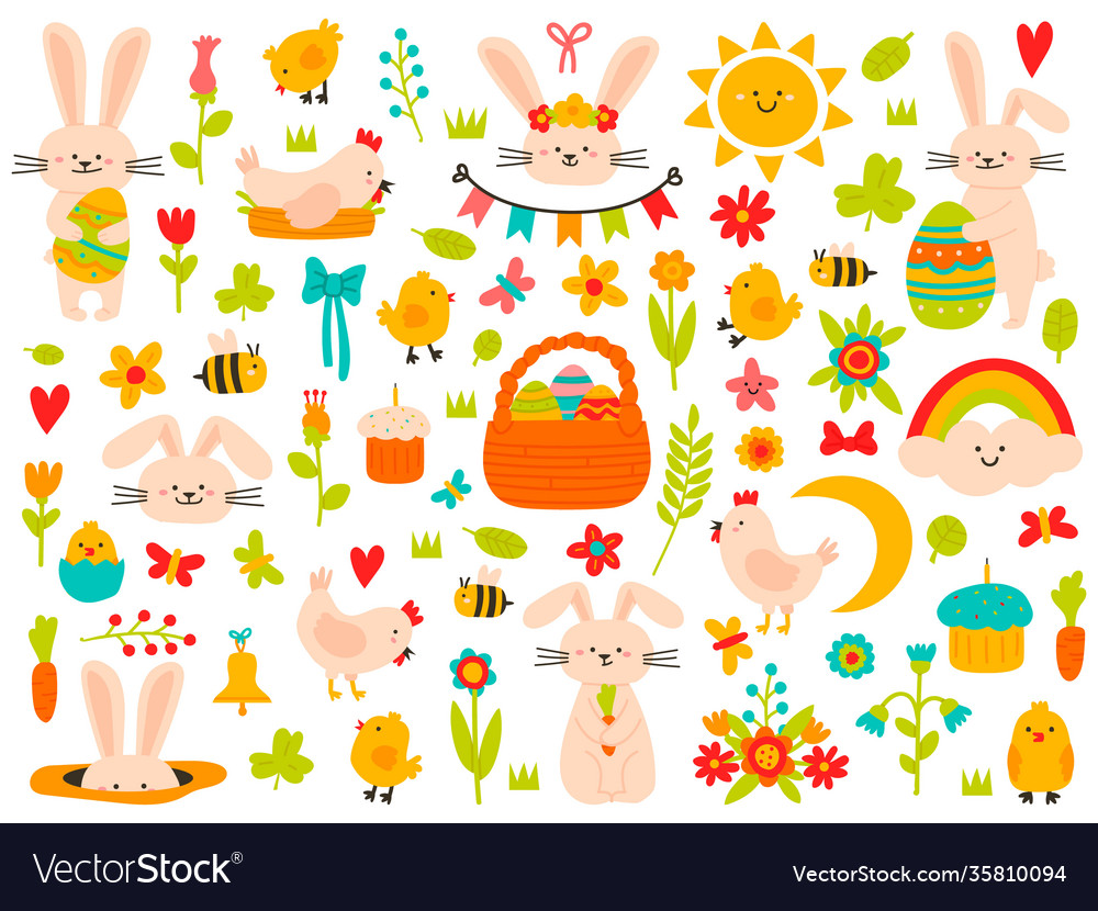 Easter spring elements eggs rabbit flowers and