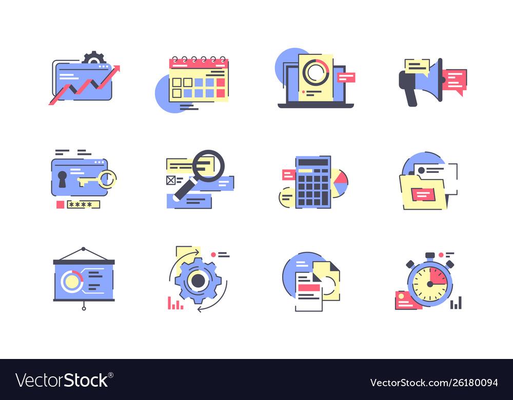 Flat business icon set with calendar presentation