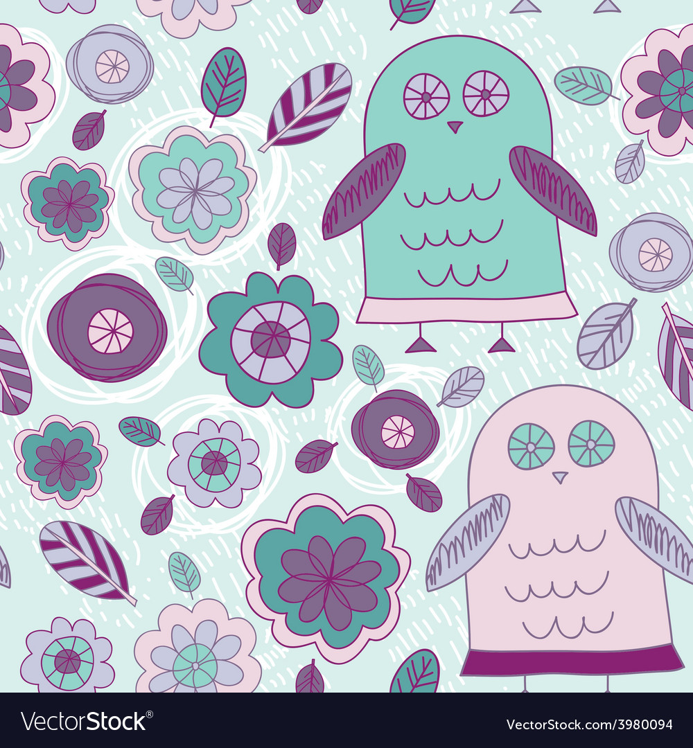 Funny hand drawn owls leaves and flowers Purple