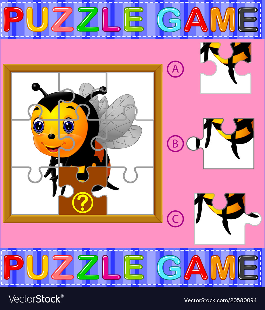 Jigsaw puzzle education game Royalty Free Vector Image