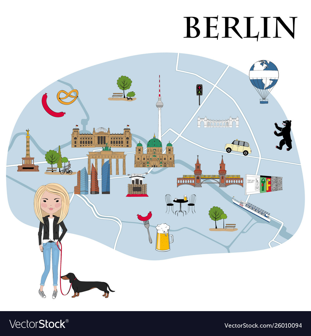 Map with landmarks and symbols berlin