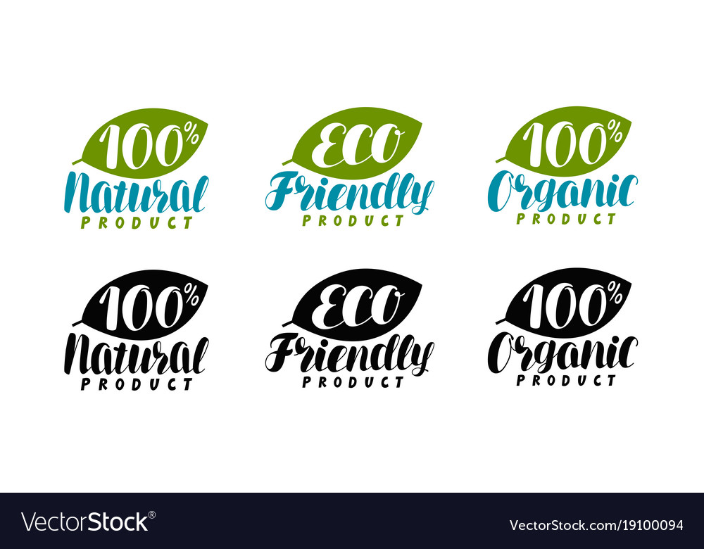 Natural organic product logo or label eco