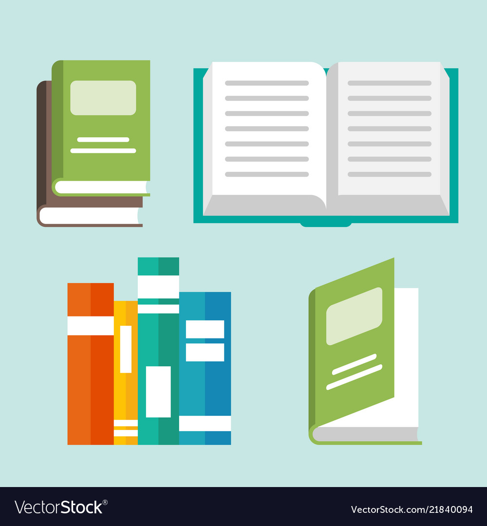 Open book icons in a flat style study and